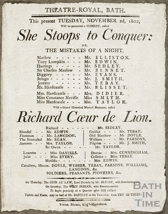 She Stoops to Conquer Playbill, Nov 2nd 1802