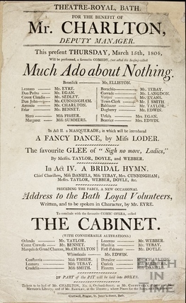 Much Ado about Nothing Playbill, March 15th, 1804