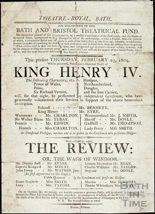 King Henry IV Playbill, Feb 23 1804