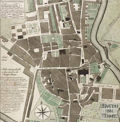 A New and Correct Plan of the City of Bath and Places Adjacent c.1770 - detail