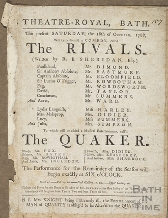 The Rivals Playbill, 18th Oct 1788