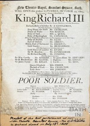 King Richard III Playbill, Oct 12 1805