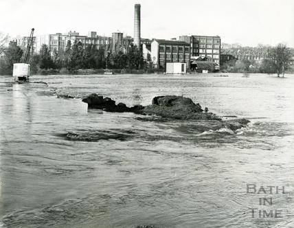 The flooded flood plain in Keynsham c.1968