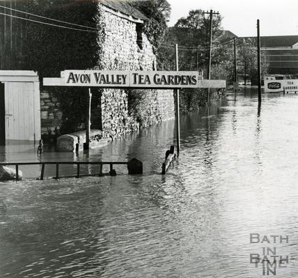 Floods by the Avon Valley Tea Gardens, c.1968