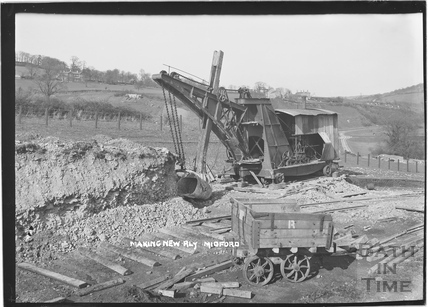Constructing the Camerton to Limpley Stoke Railway, taken from the top of the embankment, Midford c.1908