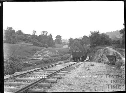 Constructing the Camerton to Limpley Stoke Railway, near Monkton Combe c.1908