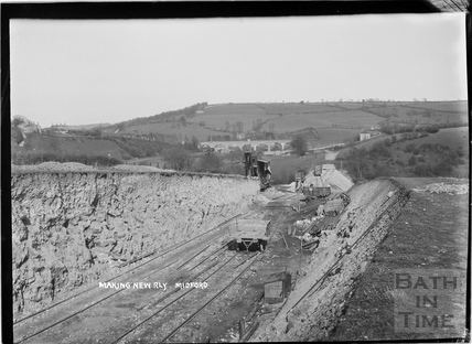 Constructing the Camerton to Limpley Stoke Railway, near Midford c.1908