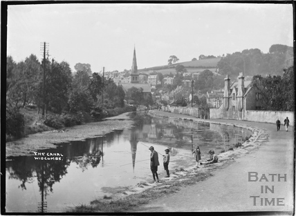 Fishing on the Kennet and Avon Canal, Widcombe, Bath c.1920