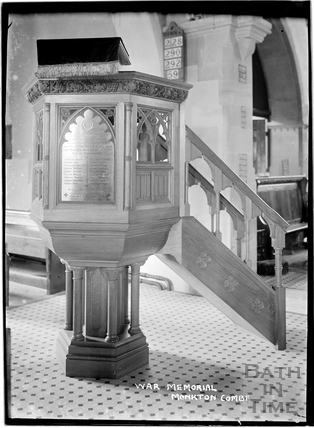 Inside St Michaels church, Monkton Combe c.1934