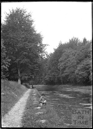 A schoolboy fishing on the Kennet and Avon Canal near Limpley Stoke c.1934