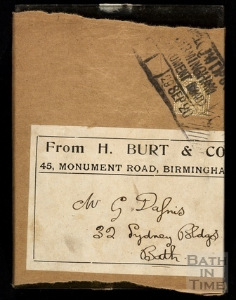 A package of glass negatives wrapped in an addressed label 29 Sept 1920