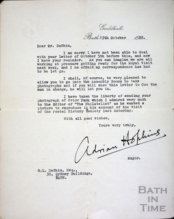 Letter from Mayor Adrian Hopkins for George Love Dafnis Oct 1938