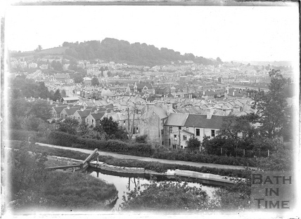 View from the vicinity of Sydney Buildings, Bath looking southwest c.1930