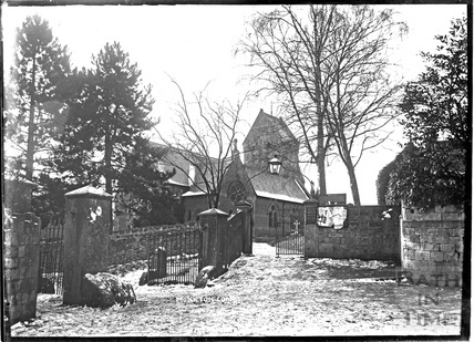 St Michaels Church in the snow, Monkton Combe c.1904