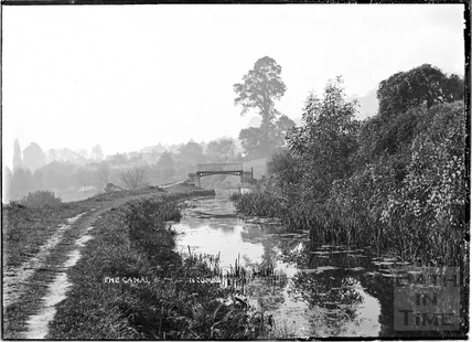 The Somersetshire Coal Canal and footbridge, Monkton Combe c.1904