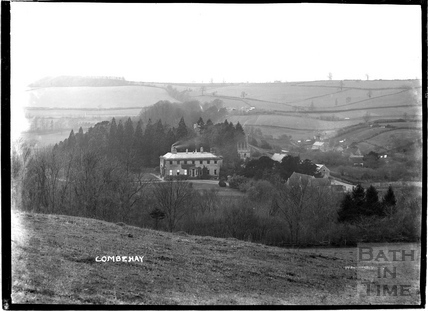 View of Combe Hay Manor and hills in the background c.1910