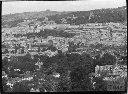 View of Bath towards Camden Crescent from Sham Castle, c.1935