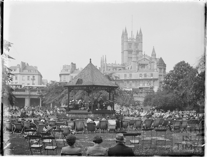 Deckchairs and bandstand, Parade Gardens c.1930s