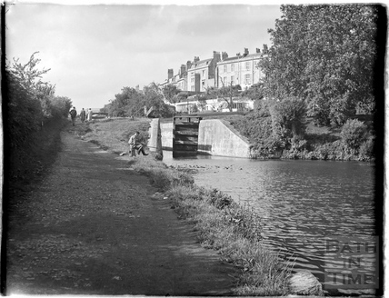 Fishing on the Kennet and Avon Canal with Sydney Buildings behind, Bath July 1954