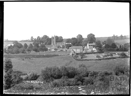View across the fields to the church at Wellow c.1910s