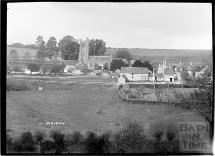 View across the fields to the church at Wellow c.1930s