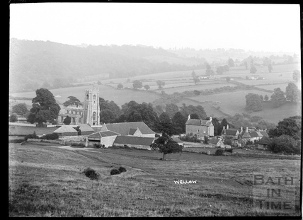 Village view, Wellow and church, c.1930s