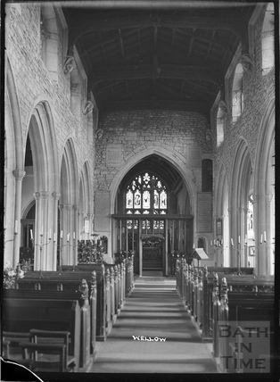 Inside the church at Wellow c.1930s