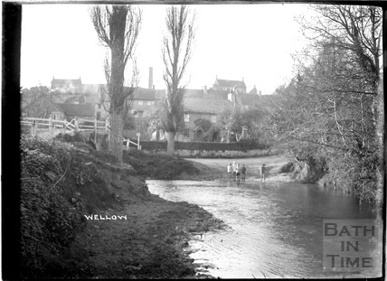Boys playing in the river at Wellow c.1930s
