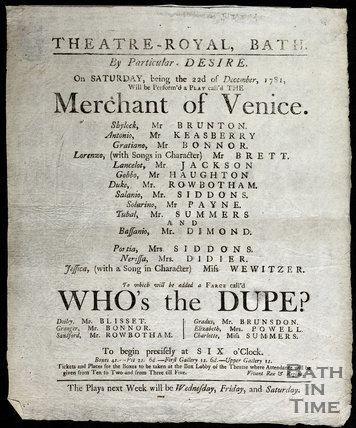 Playbill for the Theatre Royal production of The Merchant of Venice, 22nd December 1781