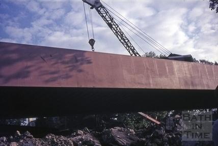 Moving the new box girder bridge into position, Oct 1975