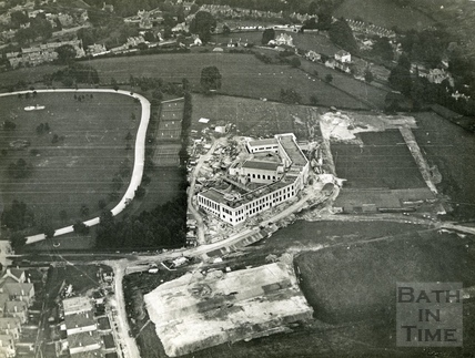 1931 Aerial view of the City of Bath Boys, School during construction