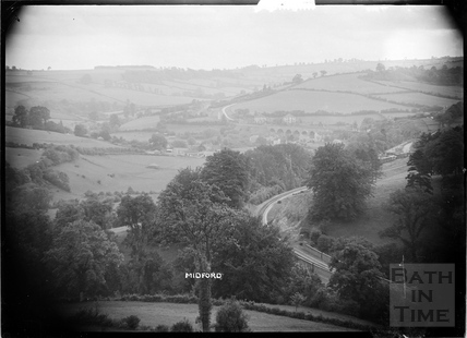 General view of Midford and railway, looking west, c.1906