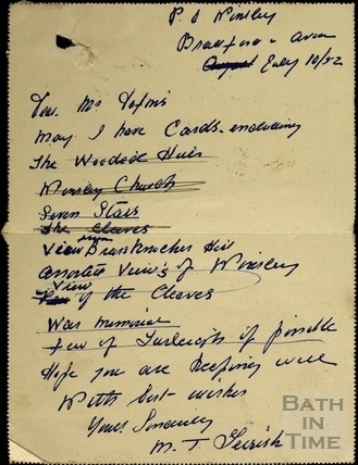 Order for postcards in the Winsley area to GL Dafnis, 10 July 1952.1952