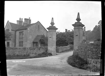 Claverton, gate posts and lodge entrance to Claverton Hill, Dec 1906