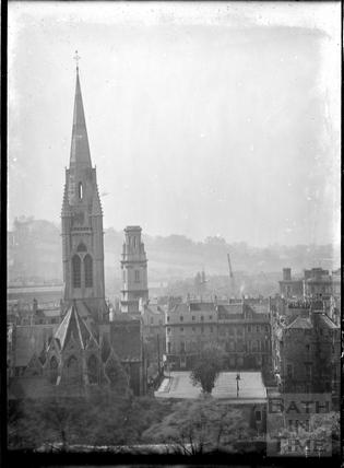 St Johns Roman Catholic Church and St James Church spires, c.1950
