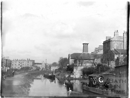 View of the Kennet and Avon Canal and Sydney Buildings, Bath c.1950