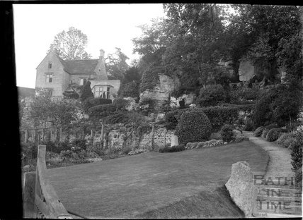 Inside gardens at The Hermitage, Freshford, c.1920s
