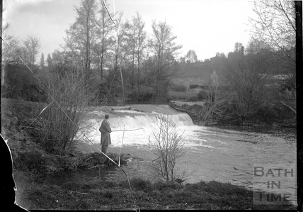 Fishing at the weir at Freshford c.1920s