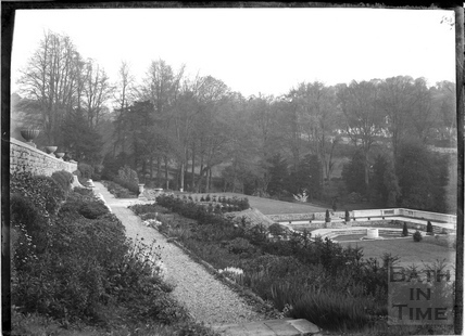 Terrace and gardens at Widcombe Manor c.1920s