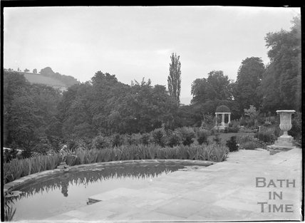 Ornamental pond with statue and urns, Widcombe Manor c.1920s