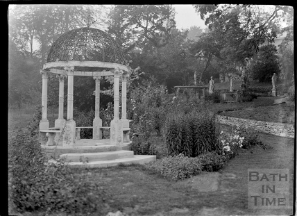 Temple and statues in the grounds of Widcombe Manor c.1920s