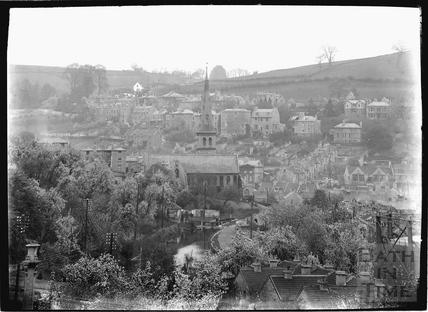 View towards St. Matthew's Church, Widcombe, Bath c.1920