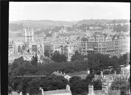View of the Abbey and Empire Hotel from Bathwick Hill, pre 1937