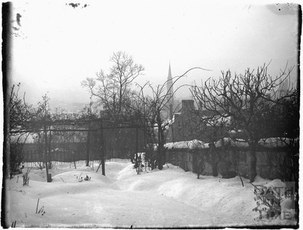 Snow covered ground near Sydney Buildings, c.1920s