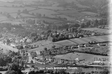 View from Bathford Tower of Batheaston c.1920 - detail