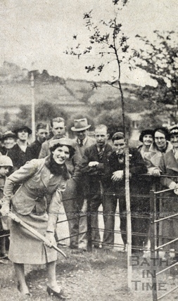 Miss Marjorie Havers plants a memorial oak after the opening of Alice Park at Lambridge June 1938