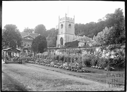 Widcombe Manor gardens and church, c.1922