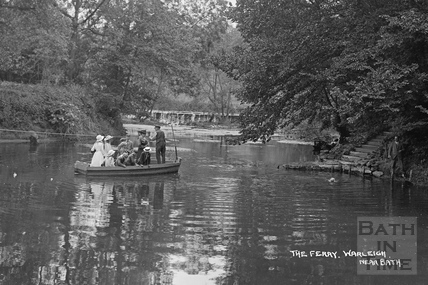 The ferry and weir at Warleigh c.1910 - detail