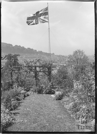The Union Jack flag, flying in the photographers back garden at 32 Sydney Buildings c.1920s