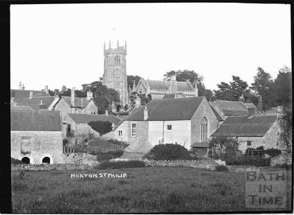 Norton St Philip, village view with church 1910